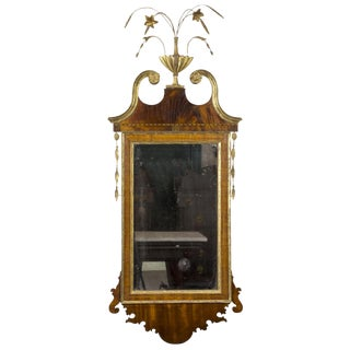 Hepplewhite Mahogany Mirror with Flowered Urn Finial