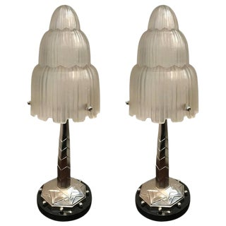 Sabino Signed French Art Deco Table Lamps with Marble Base - A Pair