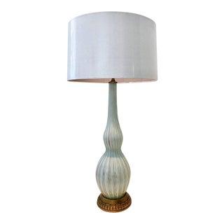 Vintage Italian Murano Glass Aqua and Copper Lamp