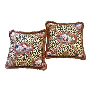 Brunschwig & Fils Chinese Leopard Toile Pillows - A Pair