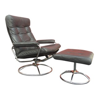 Vintage Ekornes ASA Stressless Recliner and Ottoman