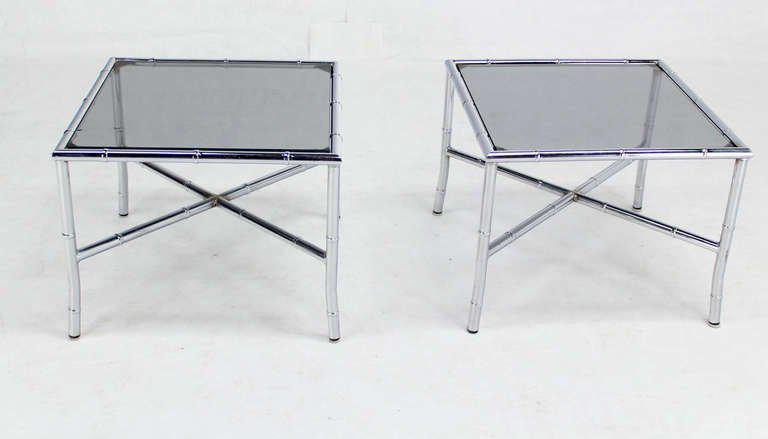 Pair Of Chrome Faux Bamboo X Base End Tables With Smoked Glass Tops   Image