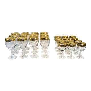 Holiday Sale!! Tiffin Franciscan Westchester 22k Gold Rim Stemware - 24 Piece Set