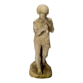 English Bromsgrove Guild Stone Garden Statue of a Boy with Pipe