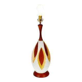Mid-Century Wood & Ceramic Table Lamp