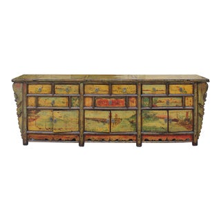Chinese Distressed Light Green Yellow Long Sideboard Console Table Cabinet