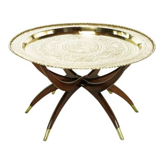 Moroccan Incised Brass & Mahogany Folding Six-Leg Tray Table