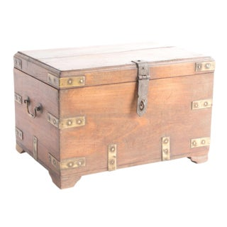 Campaign Brass Mounted Teak Chest