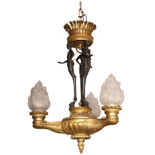 Fine 19th Century Bronze Empire Chandelier with Figural Pan Standard