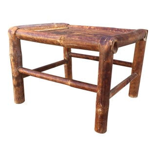 Vintage Rustic Bamboo Stool