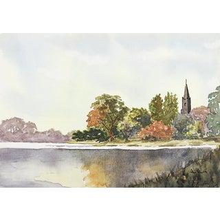 Lakeside Landscape Watercolor Painting