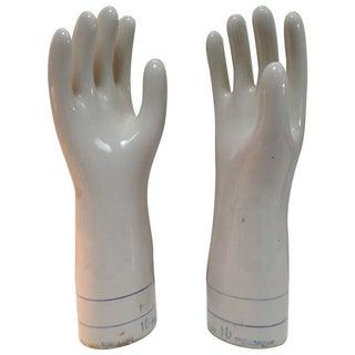 Vintage 1960's Porcelain Rubber Glove Mold - Pair