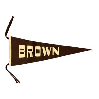 Vintage Brown University Felt Pennant With Sewn Letters