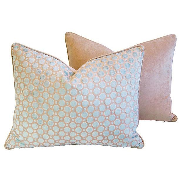 Aqua Blue Velvet Geometric Pillows - Pair - Image 6 of 7