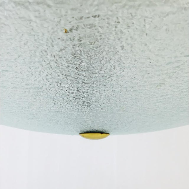 Vintage Mid-Century Glass & Brass Disk Pendant Light - Image 10 of 11