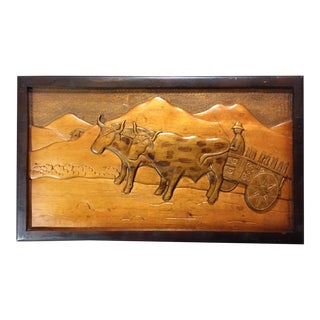 Vintage Wood Carved Farming Scene