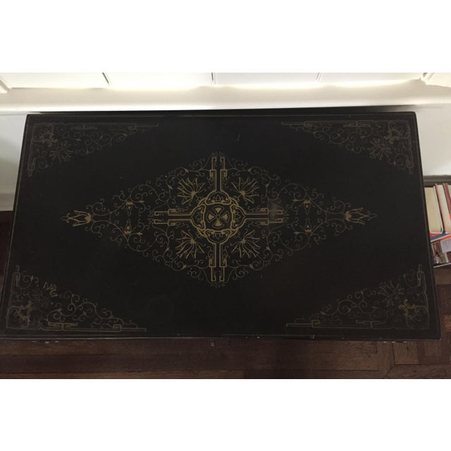 Chinese Black Lacquer Hard Stone Cabinet - Image 5 of 5