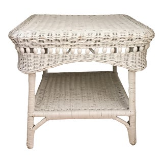 Vintage Shabby Chic Wicker Accent Table