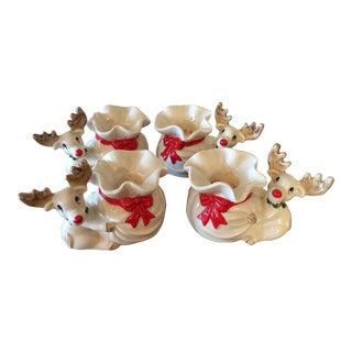 Fitz & Floyd Christmas Reindeer Candleholders- S/4