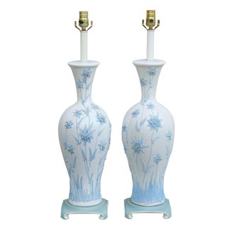 Blue Sprigged Ceramic Table Lamps - a Pair