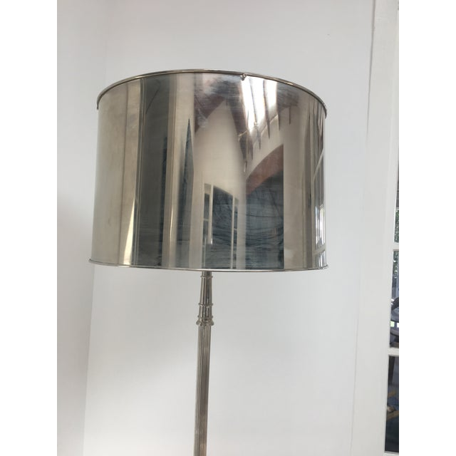 Vintage metal floor lamp with metal shade chairish for Floor lamp with wire shade