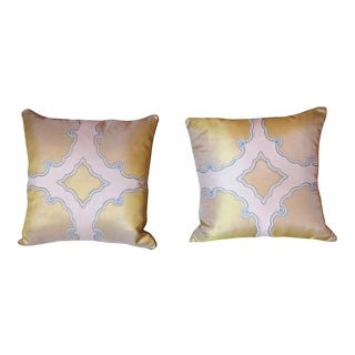 Contemporary Custom Made Iridescent Green Silk Accent Pillows - A Pair