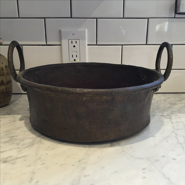 Vintage Copper Pot With Iron Handles - Image 2 of 6