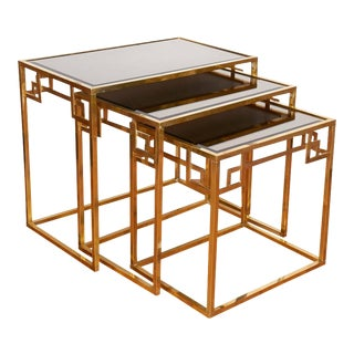 Mid-Century Italian Brass Nesting Tables - Set of 3