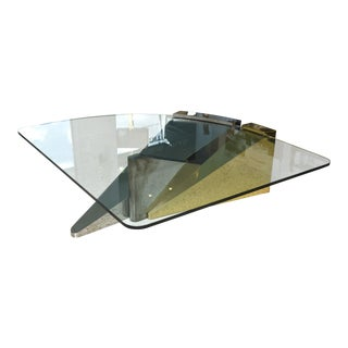 Large American Modern Polished Brass, Chrome and Stainless Low Table, Ron Seff