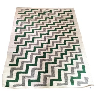 Green & White Wool Flat-Weave Rug - 4′3″ × 5′6″