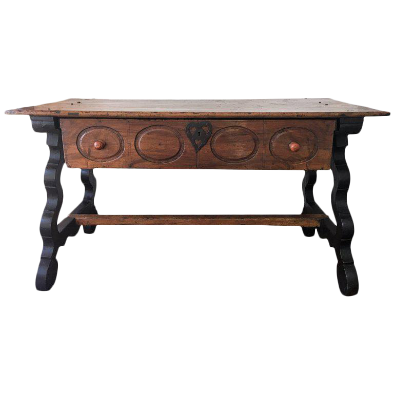 Charming 17th Spanish Refectory Table, Writing Desk, One Large Drawer