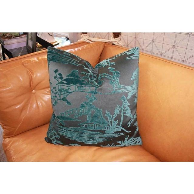 Ebony & Aqua Toile Pillows - Image 3 of 4