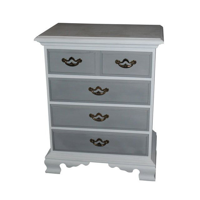 shabby chic painted nightstand or cabinet chairish. Black Bedroom Furniture Sets. Home Design Ideas