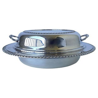 Silver Plate Covered Divided Chapin Dish