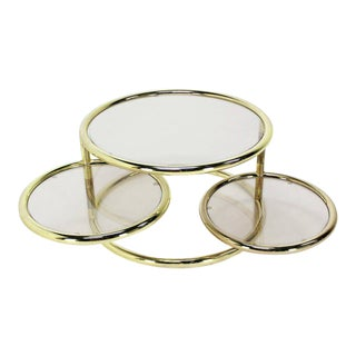 Mid Century Modern Round Tube Frame Expandable Coffee Table