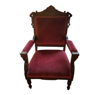 1880s Antique Victorian Eastlake Armchair