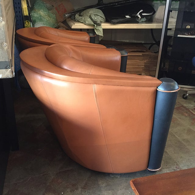 Butterscotch Leather Deco Chairs - Pair - Image 4 of 5