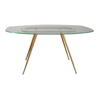 1950s Glass and Brass Coffee Table Fontana Arte Style