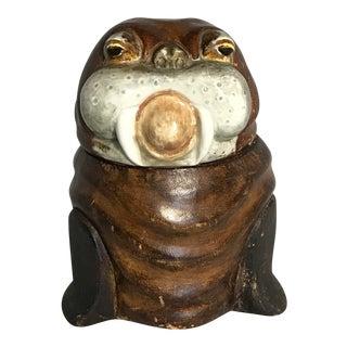 Leather Covered Walrus Tobacco Jar Humidor