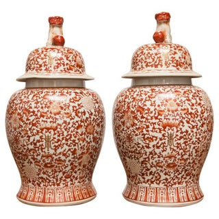 Chinese Large Porcelain Temple Ginger Jars - Pair