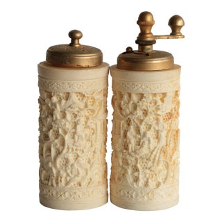 Cinnabar Style Chinoiserie Salt Shaker and Pepper Grinder Set