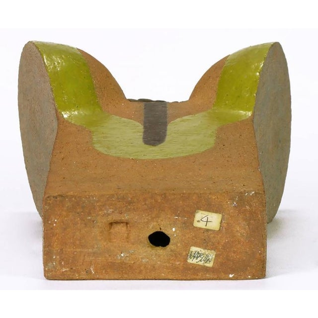 Tomiya Matsuda Chartreuse Glaze and Terra Cotta Abstract Sculpture - Image 4 of 6