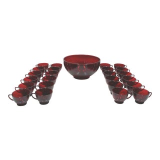 Ruby Glass Punch Bowl & Cups - Set of 25