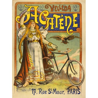 Print of French Bicycle Advertisement From 1800s