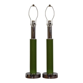 Green & Chrome Table Lamps - A Pair