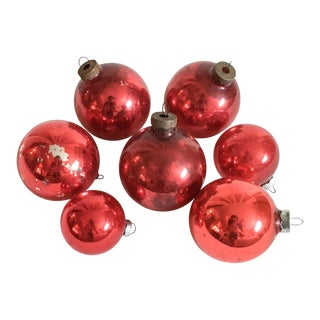 Vintage Distressed Ruby Red Ornaments - Set of 7