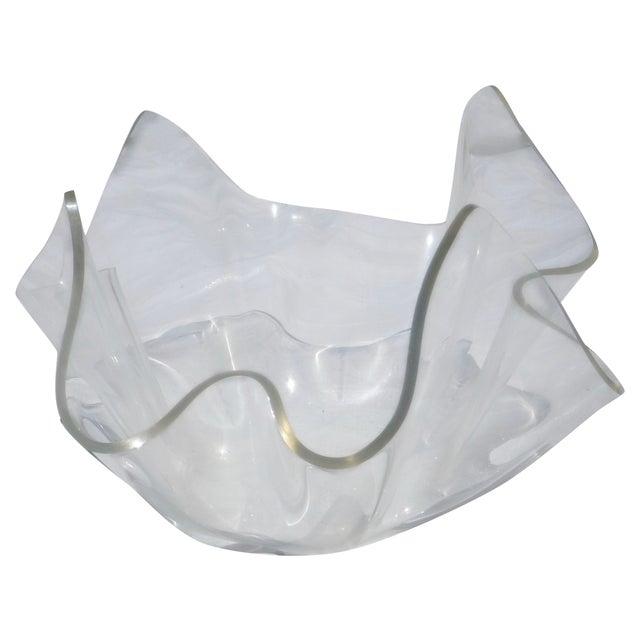 Image of Mid-Century Lucite Handkerchief Bowl