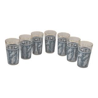 Wedgwood Jasper Ware Style Vintage Glasses Tumblers - Set of 7