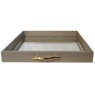 Large Animal Print Embossed Mirrored Tray