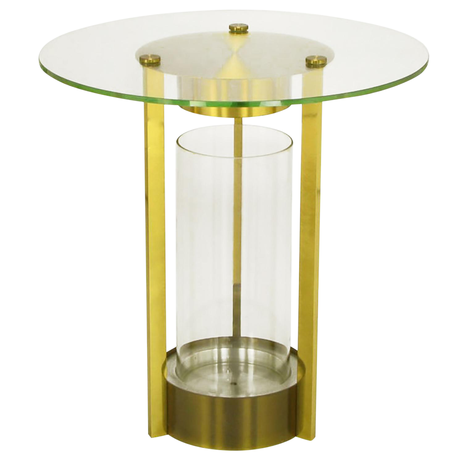 Brass U0026 Glass Cylindrical End Table Attributed To Dorothy Thorpe   Image 1  ...